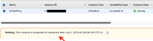 AWS EC2 instance scheduled for retirement warning